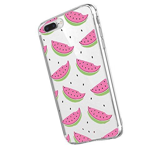 Inonler Interessante wassermelone im Sommer kühlen farb - weichen transparent hülle ()(iPhone 7 Plus,Pink)