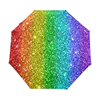 Funnyy Automatic Folding Umbrella Colorful Rainbow Glitter Star Auto Open Compact Portable Travel Umbrella for Girls Boys Women