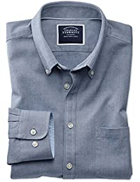 7cf4d5c3a8 Classic Fit Button-Down Washed Oxford Plain Denim Blue Cotton Shirt Single  Cuff by Charles