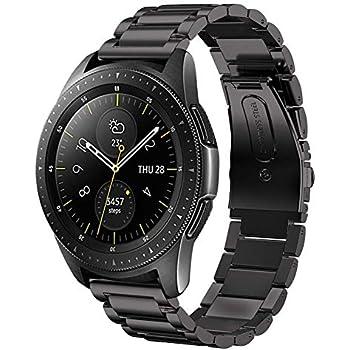 sundaree Compatible avec Galaxy Watch 42MM Bracelet,20MM Noir Bracelet de Montre Remplacement Bande de Poignet en Acier Inoxydable Métal Bracelet pour ...