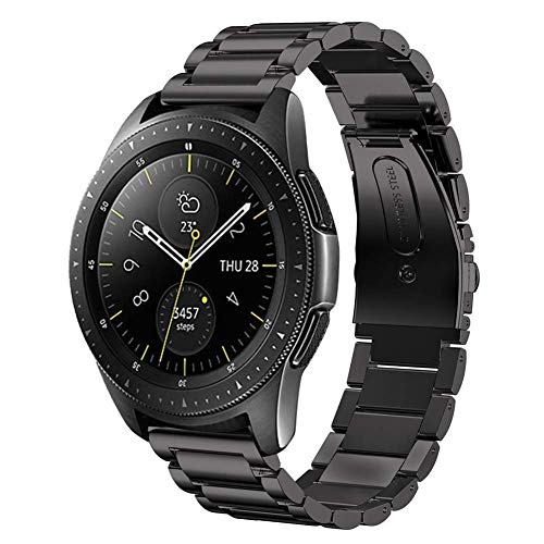 SUNDAREE Kompatibel mit Galaxy Watch 42MM Armband,20MM Metallarmband Armband Edelstahl Uhrenarmband Ersatz für Samsung Galaxy Watch 42MM SM-R810/Samsung Gear Sport/Gear S2 Classic(42 Schwarz) - Edelstahl-spitze-fach