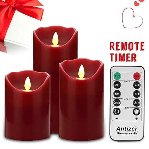 """Antizer Velas sin Flama 4"""" 5"""" 6"""" Set de 3 color borgoña cera Real pilares incluyen baile realista llevó las llamas y 10 teclas de Control Remoto con Función de temporizador de 24 horas"""