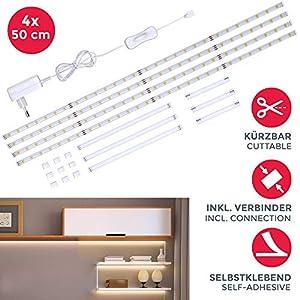 LED Unterbauleuchte | Schrankleuchte | Helle Lichtleiste mit Schalter | LED-Küchenbeleuchtung | Geeignet für Regale,Vitrinen | 4x50cm Stripes | LED Band 1100 Lumen | 4.000K Neutralweiß