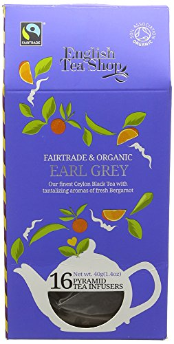 English Tea Shop Organic Fairtrade Earl Grey Black 16 Pyramid Tea Infusers 30 g (Pack of 6)