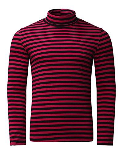 MODCHOK Turtleneck Shirt, Herren Langarmshirt Rollkragenshirt Ringelshirt Rollkragenpullover Longsleeve Slim Fit Einfarbig Schwarzrot