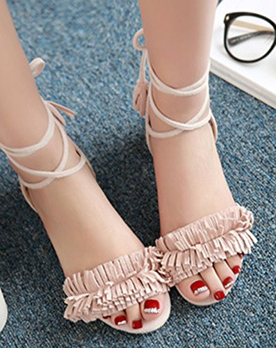 Aisun Femme Mode Lacets Cross Franges Bout Ouvert Sandales Rose