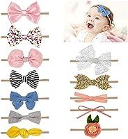 Comius Sharp 12 Piezas Bebé Diadema Pelo Cintas, Elásticas Diademas Niñas Súper Elásticas Suaves Nudo de Bebé