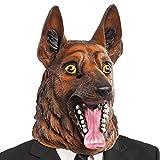 Carnival Toys - Máscara de látex perro pastor alemán en bolsa con encabezado, color marrón (1407)