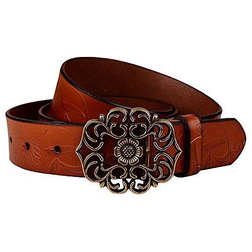 Normcorer cintura di fibbia in pelle di cuoio genuino per i jeans (115 cm di lunghezza, marrone)