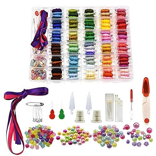 AOFOX 374 Stück Stickgarn Kreuzstichfäden, 100 Farben Freundschaftsarmband String mit Organizer-Aufbewahrungsbox, Zahnseide-Spulen, Perlen und Bänder Stickgarn-Armbänder Garn -