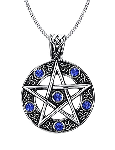 Vnox Stainless Steel Blue Crystal Pentagram of Family Star Pendant Necklace for Men Women Wiccan Jewelry