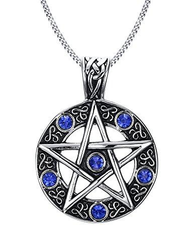 istungsstark Anhänger Halskette Blau Strass Faux Diamant eingelegten Hohl Pentagram Star Edelstahl Vintage Geschenk für Männer Frauen (mit Geschenk Tüte) ()