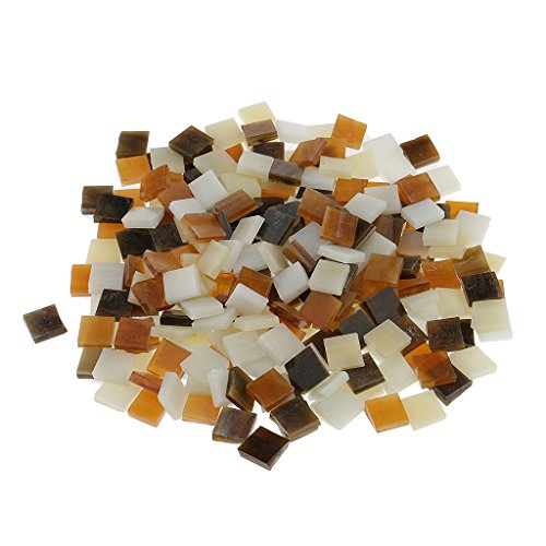 MagiDeal 250 Pieces Square Vitreous Glass Mosaic Tiles Pieces Tessara for DIY Art Crafts Supplies 10x10mm - Brown