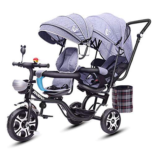 Mixbeek Cochecito Doble Desmontable para Bebés, Triciclo Tandem para Niños Asiento Doble Carro Ligero...