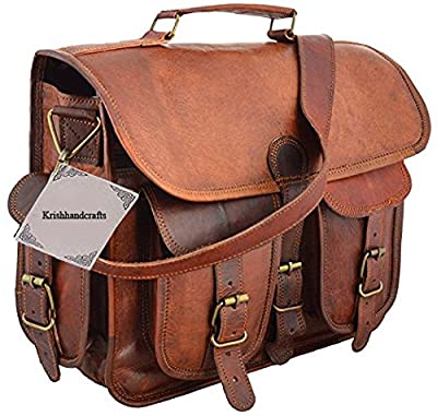 Cuir Sacs en cuir Sac à bandoulière pour homme et femme, vintage Business sacoche pour ordinateur portable et des livres à la main, robuste et vieilli ~ authentique rétro...