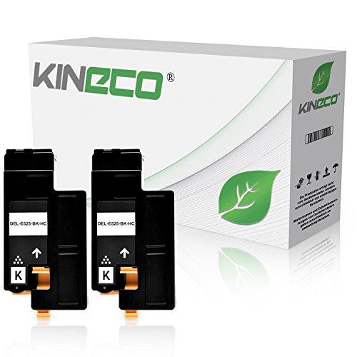 Kineco Toner kompatibel zu Dell E525w Multifunktionsdrucker - 593-BBJX - Doppelpack Schwarz je 2.000 Seiten