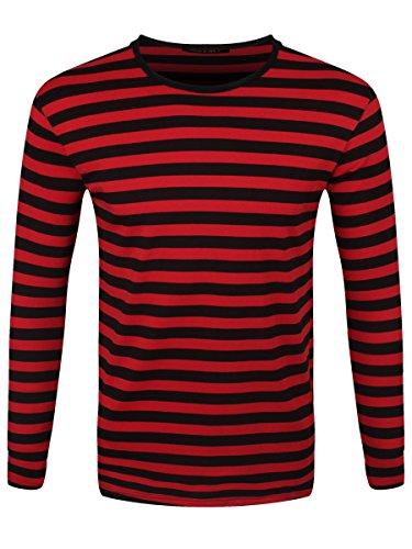 Männer Langarm T-Shirt schwarz/rot gestreift -