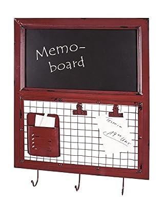 Memoboard mit Schreibtafel, Ablage und Haken in rot aus Metall; Maße: 50x8x67 cm