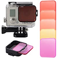 XCSOURCE 5pcs Switching Diving Filter Lens Red Yellow+Adapter for Gopro Hero 4 3+ LF722