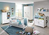 Babyzimmer, Kinderzimmer, Komplett-Set, Babymöbel, Babybett, Wickelkommode, Babyausstattung, Einrichtung, Komplett, Schrank, alpinweiß, Esche massiv