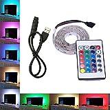 Skitic Bande Lumineuse LED, USB Câble LED TV Background Kit D'éclairage Avec Télécommande IR 24 Touches - 50CM 5V Multicolore 5050 SMD RGB LED Strip Light pour HDTV LCD a Schermo Desktop PC Monitor