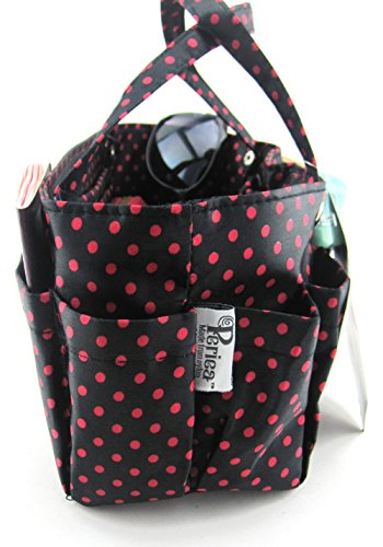 Periea, Borsa a mano donna Cream With Brown Dots medium Black With Red Dots