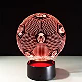 ZH 3D Real Madrid Football Colorful Remote Control Touch Night Light LED l¨¢mpara de mesa , touch