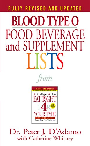 Blood Type O Food, Beverage and Supplemental Lists (Food, Beverage and Supplement)