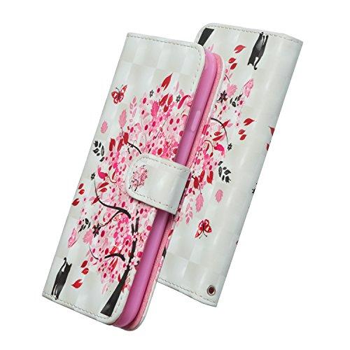 WIWJ Schutzhülle für Nokia 2 Handyhülle Leder Case für Nokia 2 Hülle [3D-Lackierung Schlüsselband Halterung Ledertasche]Hülle für Nokia 2-Unter dem Baum