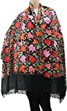 #7: Matelco Black stole with floral embroidery all over
