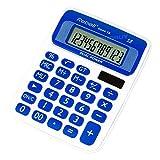 Rebell 12 Digit Calculator White & Blue Dual Power Desk Desktop Office Small