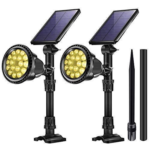 KASUN Solarleuchten für den Außenbereich, 18 LEDs, wasserfest, Landschaftsbeleuchtung, Solar-Sicherheitslampen für Garage, Deck, Gartenwand Large Yellow Light - 2PCS (Js-led)