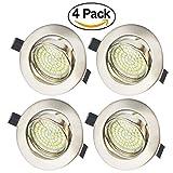 LED Empotrable GU10 Focos Techo Luces 5 W Blanco Frio 6000 K 400 lm 220 V IP20 con Marco Redondo Níque para Salón o Dormitorio Cocina (Pack de 4)