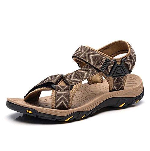 Männer Pump Open Toe D'orsay Slingbacks Sandalen Mode Hohl Klettverschluss Colormatch Holiday Beach Schuhe rutschfeste Wasserdichte Outdoor Freizeitschuhe Eu Größe 38-46 ( Color : Brown , Größe : 44 ) -