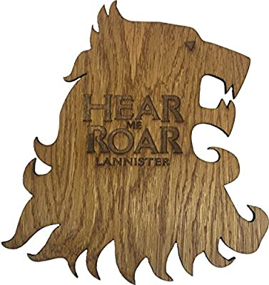 "Game of Thrones House Lannister ""Hear Me Roar"" Wooden Lion Sigil"