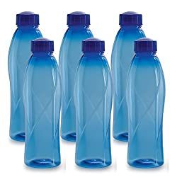 Cello Texas Plastic Pet Bottle, 1 Litre, Set of 6, Blue