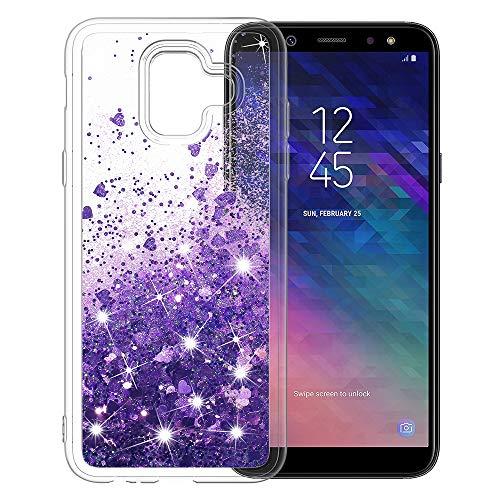 MASCHERI Hülle für Samsung Galaxy A6 2018, Fließen Flüssig Bling Glitzer Kratzfest Luxus Shiny handyschalen Glanz Cover für Samsung A6 2018 - Lila