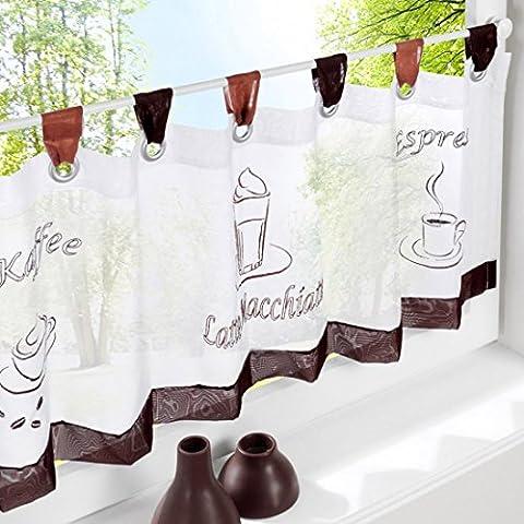 Hoomall Décoration de Fenêtre Voilage Demi Rideau Brise Bise pr Chambre Café Cuisine Polyester Motif Café Couleur Chocolat 60cmx120cm 1 Pc