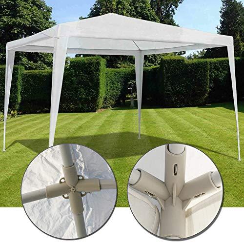 Nxtbuy Gartenpavillon 3x3 m easyUP Wasserdicht - Einfache Stecksystem Montage - Gartenzelt Partyzelt mit Heringen, Abspannseilen, Eckverbindern, Metallgestänge und PE Plane