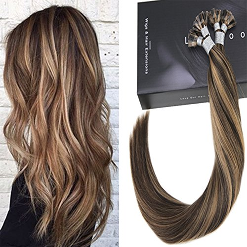 LaaVoo 45cm Great Length Fusion Bonding Extensions Echthaar 1G 50 Strahnen Flat Tip Keratine Extension Hair Highlights Dunkelbraun und Blond (Fusion Echthaar Extensions)