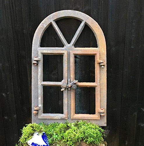 Antikas | Eisenfenster mit Rundbogen & Doppelflügel | Höhe: 57,5 cm - Breite: 38 cm | aus unbehandeltem Gusseisen