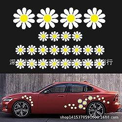Calistouk Pegatinas Floral Decorativo Cuerpo Coche Espejo retrovisor Parachoques ceja Tapa del Tanque de Combustible calcomanía rasguño Margarita Flor