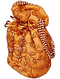 Gaurapakhi Rajasthani Collection And Ethnic Cotton Handmade Potlibag With Yellow Color For Women's