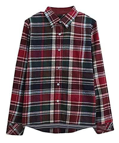 EKU Womens Cotton Flannel Plaid Shirt sanding slim female Top