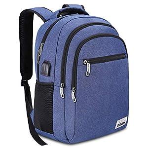 Mochila Escolar Juvenil,Mochila para portátil con Puerto de Carga USB