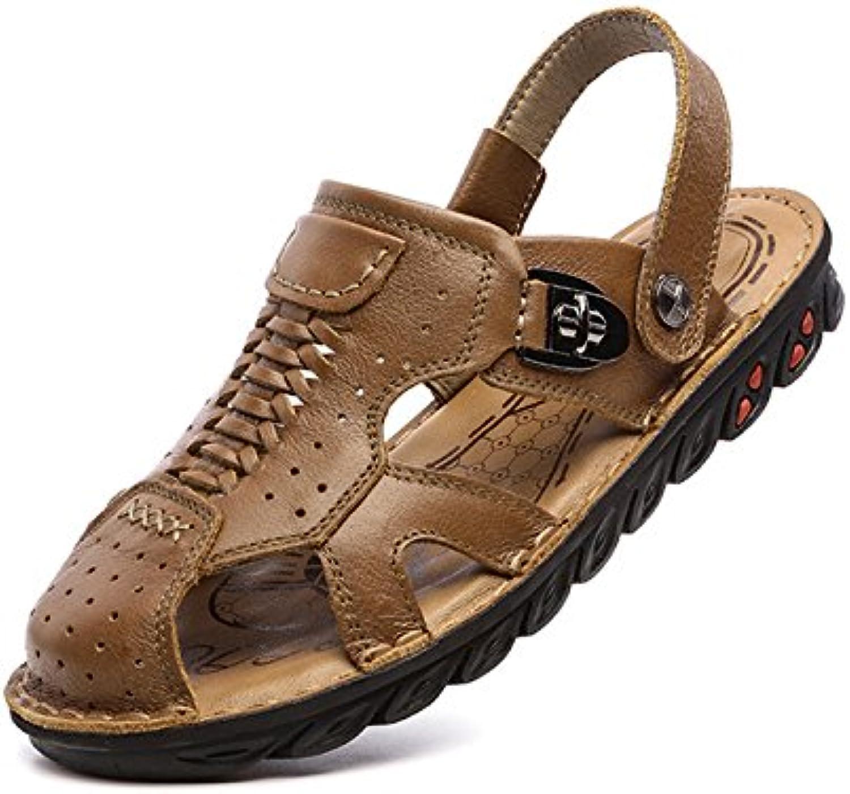 Pakamo Sandalias para Hombres Sandalias de Cuero Genuino de Verano Sandalias Ligeras y Transpirables para Hombres