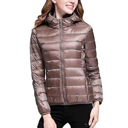 LAEMILIA Damen Steppjacke Winter Warm Kapuzen Elegant Einfarbig Leicht Kurz Kapuzenjacke Daunenjacke Mit Reißverschluss