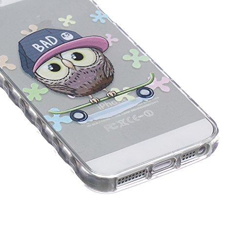 iPhone SE / 5 / 5s Coque Housse Etui, iPhone 5s Argent Coque en Silicone, iPhone 5s Placage Coque Clair Ultra-Mince Rose Gold Etui Housse, iPhone 5 Gel Souple Coque Transparent Housse, iPhone 5 / 5s S Owl