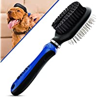 Dog Grooming Brush - Cat Scratching Brush by BELISY - Double Sided Brush For Cat and Dog - Cat Toilet Brush with Flexible and Ergonomic Handle - Cat/Dog comb - Blue (Pet Supplies)