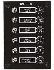 Panneau Interrupteur Bascule 6Gang interrupteur Fusible Marine RV Noir 12V 10060
